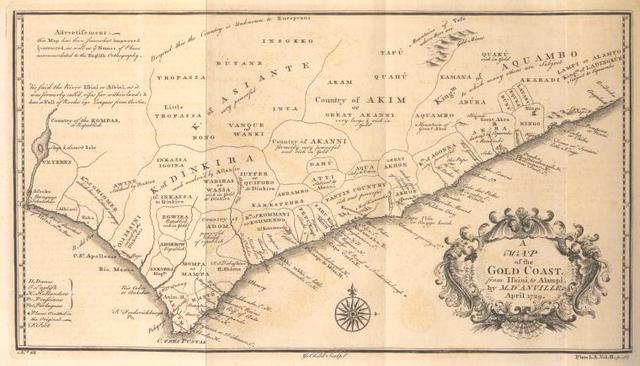 A map of the Gold Coast, from Issini to Alampi by M. D'Anville.