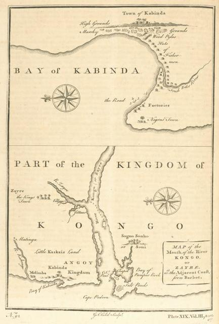 A map of the mouth of the River Kongo, or Zayre with the adjacent coast; Bay of Kabinda.