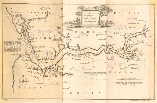 A map of the River Gambra from its mouth to Eropina.