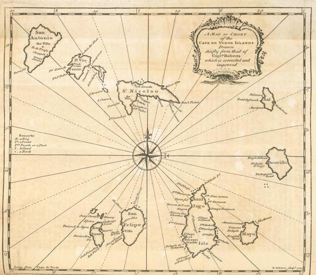 A map or chart of the Cape de Verde Islands.