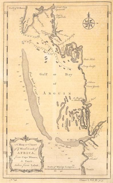 A map or chart of the western coast of Africa, from Cape Blanco, to Tanit.