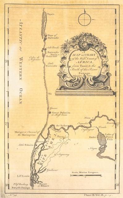 A map or chart of the western coast  of Africa, from Tanit, to the mouth of the River Sanaga.