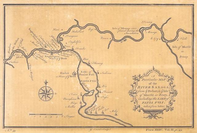 A particular map of the River Sanaga, from the defart to the Isle of Morfil of Ivory, including Lake of Pania Fuli.