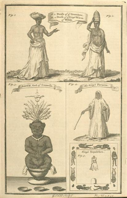 Dress of the Grandees; King's wives of Whidah; King's favourite; Agoye, God of Councils.