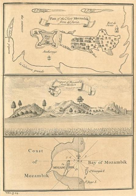 Plan of the fort of Mozambik from de Faria; Prospect of Mozambik from Herbert; Coast of Mozambik; Bay of Mozambik.