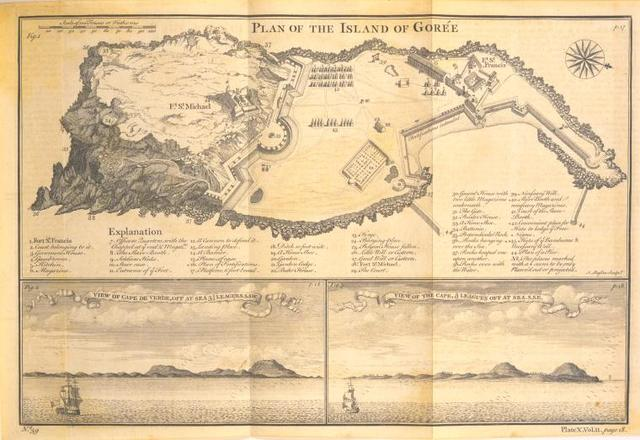 Plan of the Island of Gorée; [Fort St. Michael; Fort St. Francis] ; [Two views of Cape de Verde off at sea].