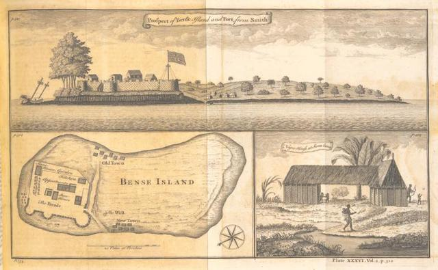 Prospect of Bense Island and fort; Bense Island; Negro house at Sierra Leona.