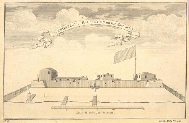 Prospect of fort St. Louis on the east side.