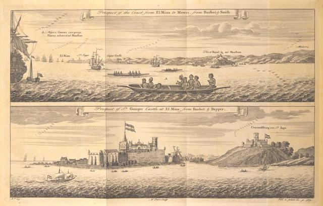 Prospect of the coast from El Mina to Mowri; Negro canoes carrying slaves at Mansrow; Prospect of St. Georges castle at El Mina.