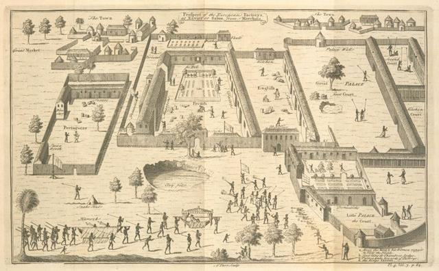 Prospect of the european factories at Xavier or Sabi, from Marchais.
