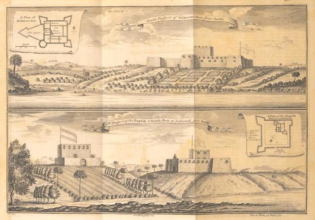 South prospect and a plan of Dickscove Fort; S. W. prospect of the English & Dutch Forts at Sakkundi.