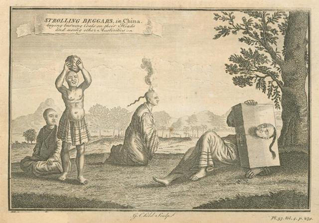 Strolling beggars in China; Laying burning coals on their heads and using other austerities.