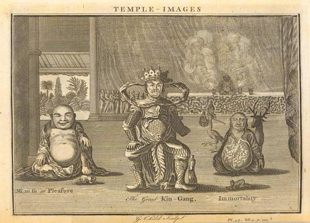 Temple images; Mi-ni-fo or Pleasure; The Great Kin-gang; Immortality.