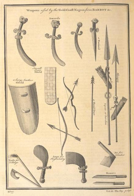 Weapons used by the Gold Coast Negroes.