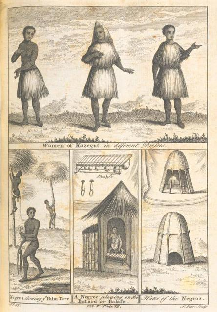 Women of Kazegut in different dresses; Negroes climbing the palm tree; A Negro playing on the Ballard or Balafo; Hut of the Negroes.