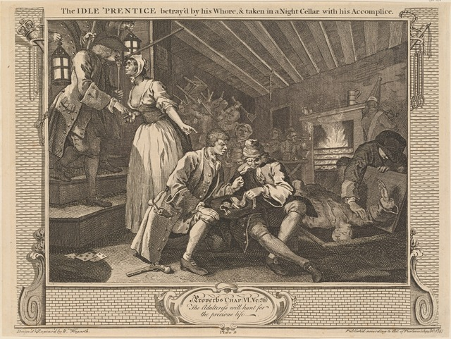 The Idle 'Prentice betray'd by his Whore, and taken in a Night Cellar with this Accomplice [plate 9]