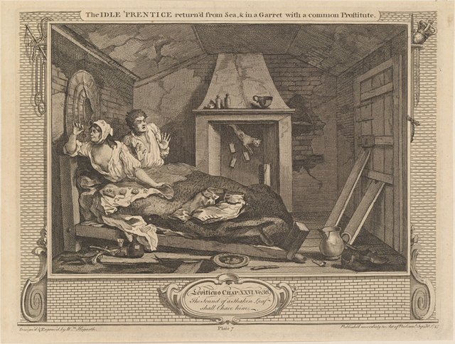 The Idle 'Prentice return'd from Sea, and in a Garret with a common Prostitute [plate 7]