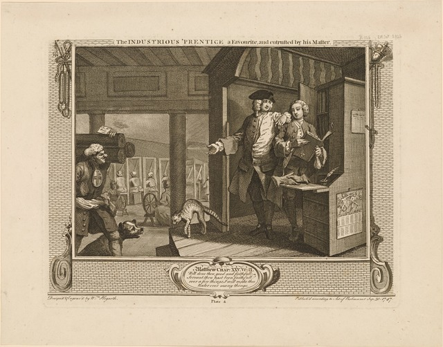 The Industrious 'Prentice a Favourite and entrusted by his Master [plate 4]