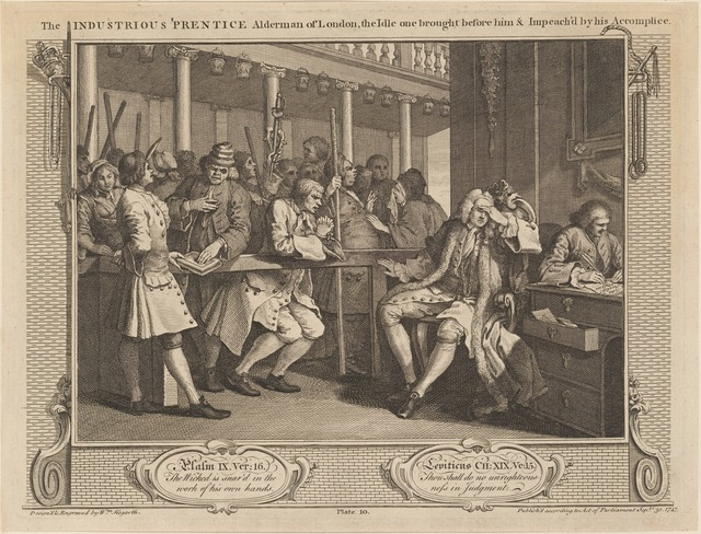 The Industrious 'Prentice Alderman of London, the Idle one brought before him & Impeach'd by his Accomplice [plate 10]