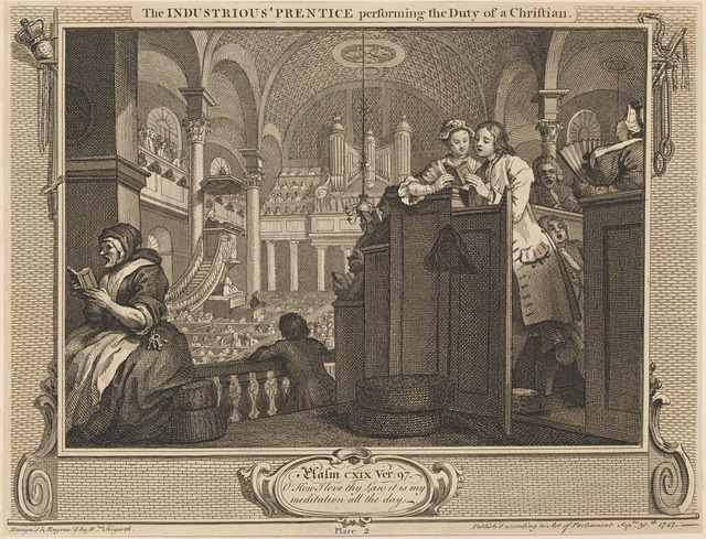 The Industrious 'Prentice performing the Duty of a Christian [plate 2]