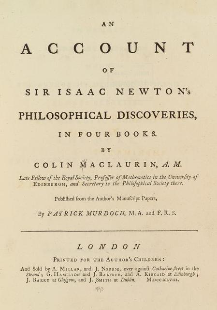 An account of Sir Isaac Newton's philosophical discoveries title page