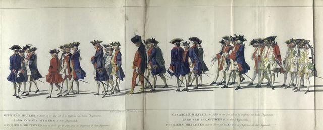 Officiers militair te Land en ter Zee, alle in de Uniforme van hunne Regimenten. 1752