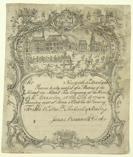 Certificate of the Hand-In-Hand Fire Company, New York.