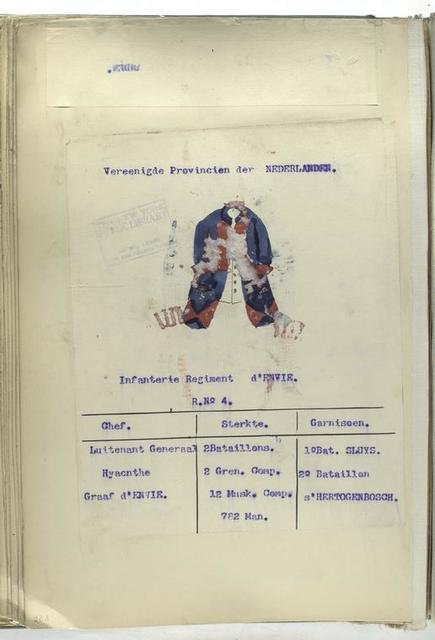 Infanterie Regiment d'Envie. R. no. 4.  1753