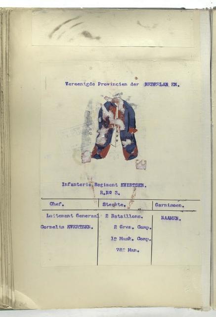 Infanterie Regiment Evertsen. R. no. 3.  1753