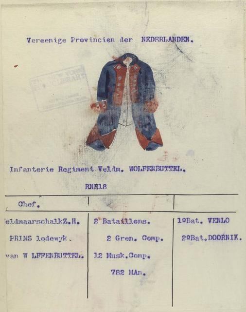 Infanterie Regiment Veldm[aarschal] Wolfenbuttel. R. no. 18