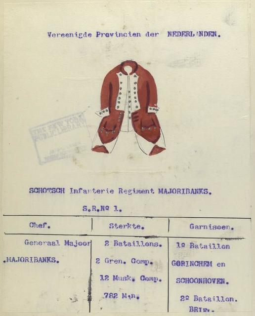 Schotsch Infanterie Regiment Majoribanks. S.R. no. 1