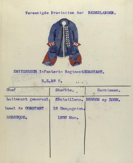 Zwitsersch Infanterie Regiment Constant. R.Z. no. 5