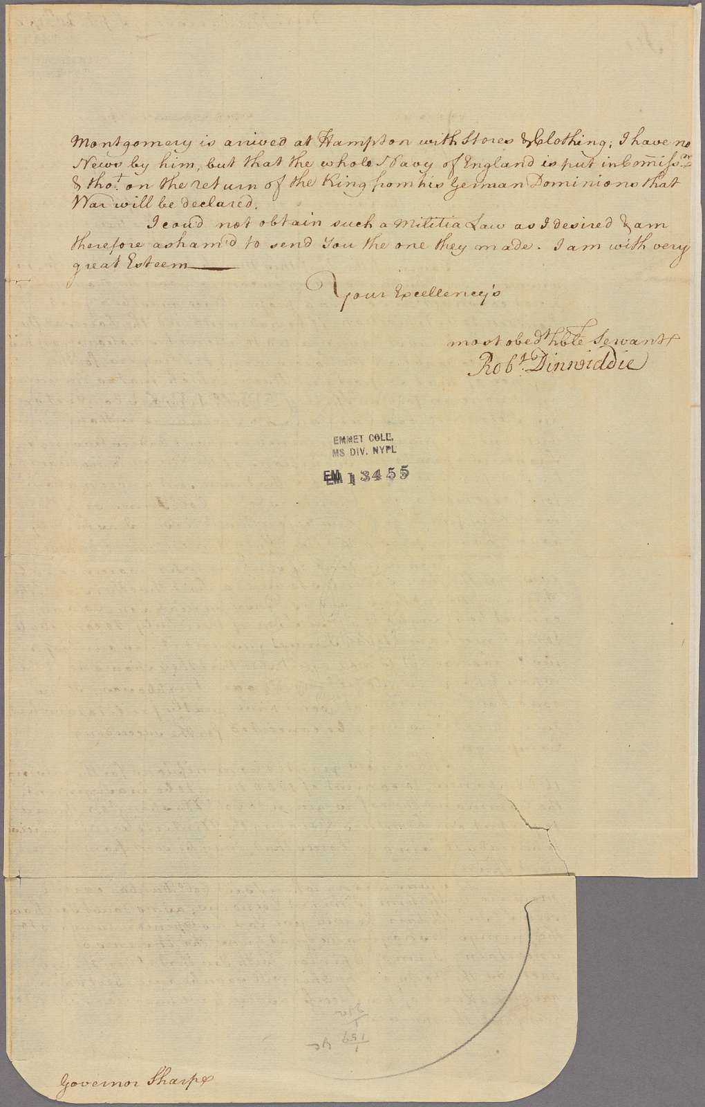Letter to Governor [Horatio] Sharpe [Annapolis, Md.]