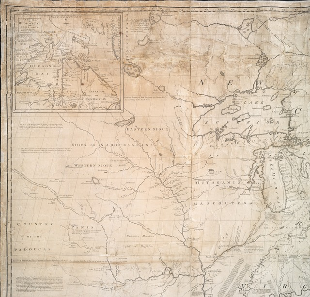 A map of the British and French dominions in North America : with the roads, distances, limits, and extent of the settlements, humbly inscribed to the Right Honourable the Earl of Halifax, and the other Right Honourable the Lords Commissioners for Trade & Plantations