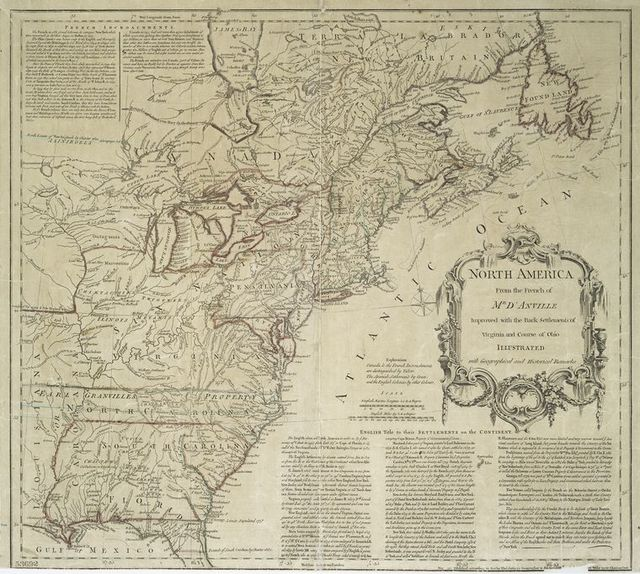 North America from the French of Mr. D'Anville : improved with the back settlements of Virginia and course of Ohio : illustrated with geographical and historical remarks.