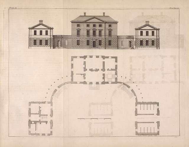 Plan and elevation of a house built for Alexander Johnston, Esq; in Scotland.