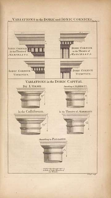 Variations in the doric and ionic cornices.