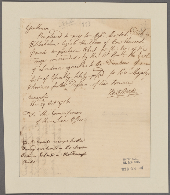 Sharpe, Horatio. Annapolis. To the Commissioners of the Loan Office
