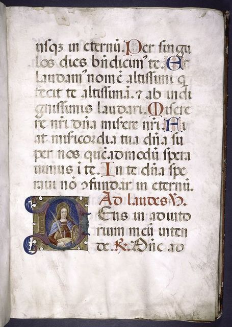 4-line initial on gold field with portrait of St. Catherine; 1-line initial and rubrics.