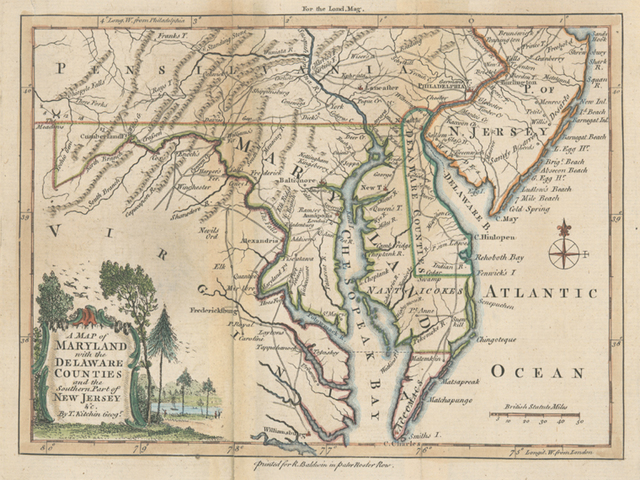 A map of Maryland with the Delaware counties and the southern part of New Jersey &c.