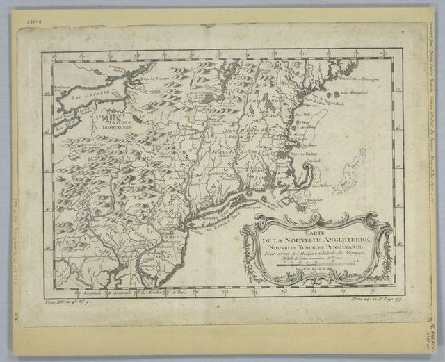 Carte de la Nouvelle Angleterre, Nouvelle Yorck, et Pensilvanie : pour servirà l'Histoire générale des voyages