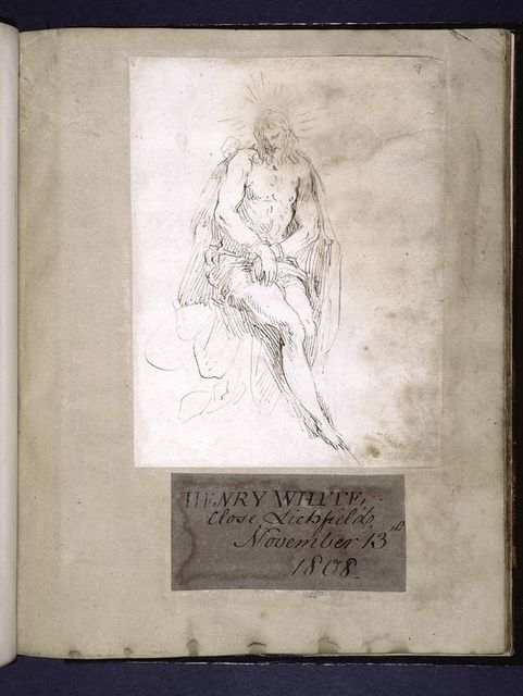 Drawing pasted onto first sheet of old paper, and bookplate of first known owner, Henry White.