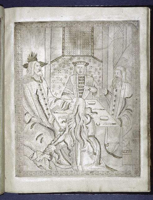 Drawing which accompanies text on 3v -- woman washes Christ's feet and dries them with her hair.