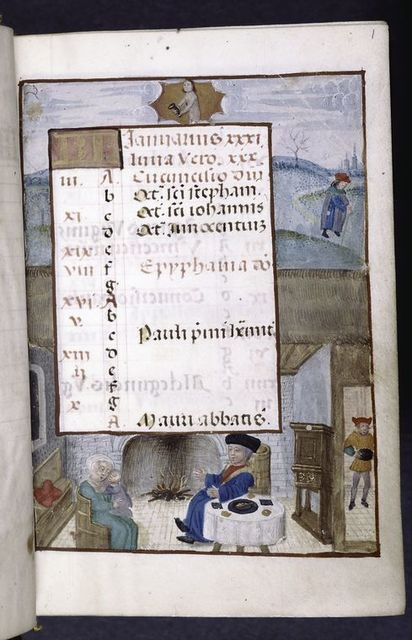 Opening of calendar, scene of seasonal activity.