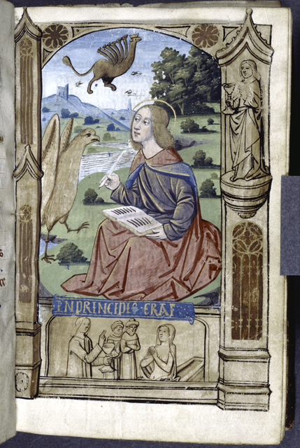 Opening of main text, miniature of John the Evangelist. Other figures in border design.