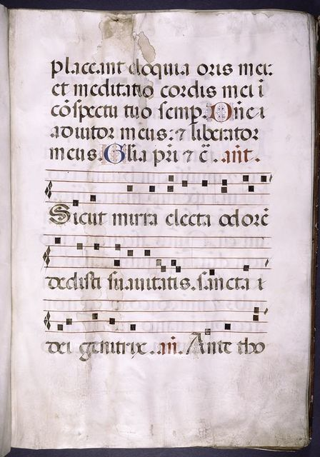 Page of text with music, small initials, rubrics.