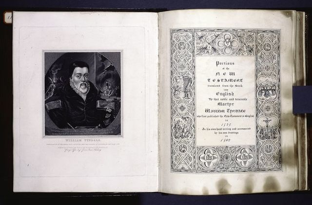Portrait of William Tyndale, and title page, on later paper.