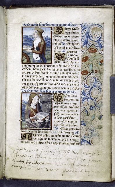 Small miniatures of Sts. Catherine and Barbara; border design, initials, and writing in blue.