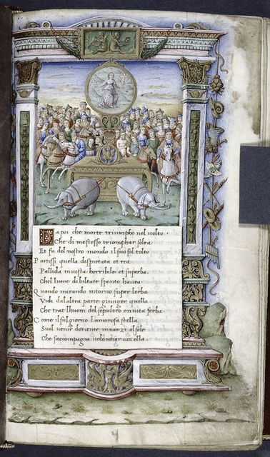 Two elephants drawn a cart frontally towards the viewer; on the cart is the allegory of Fame as a woman holding a sword and a small blindfolded Cupid.