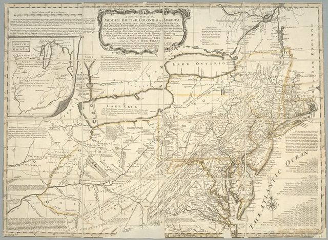 A general map of the middle British colonies in America : viz. Virginia, Maryland, Delaware, Pensilvania, New-Jersey, New-York, Connecticut and Rhode-Island : of Aquanishuonigy the country of the confederate Indians comprehending Aquanishuonigy proper, their places of residence, Ohio and Thuchsochruntie their deer hunting countries, Couchsachrage and Skaniadarade their beaver hunting countries, of the Lakes Erie, Ontario and Champlain, and of part of New-France : wherein is also shewn the antient and present seats of the Indian nations